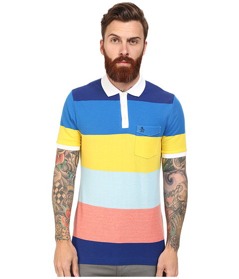 Original Penguin - Global Look Lollipop Stripe Heritage Polo (Georgia Peach) Men