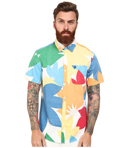 Original Penguin - Global Look Large Floral Print Poplin Woven Short Sleeve Heritage Shirt (Skydiver) Men