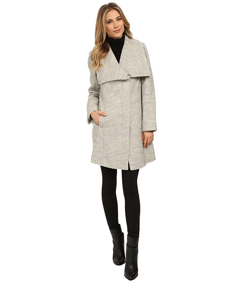 Jessica Simpson - Asymmetrical Zip Envelope Collar Boucle (Heather Grey) Women's Coat