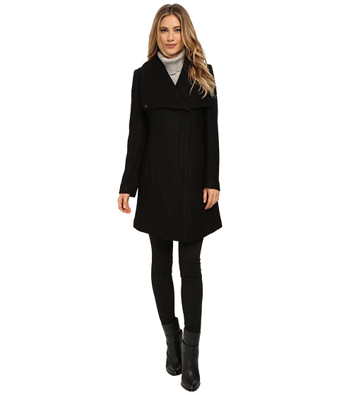 Jessica Simpson - Asymmetrical Zip Envelope Collar Boucle (Black) Women's Coat