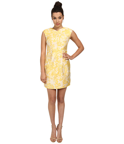 Ivy & Blu Maggy Boutique - Cap Sleeve Floral Jaquard Barrel (Lemon Multi) Women's Clothing