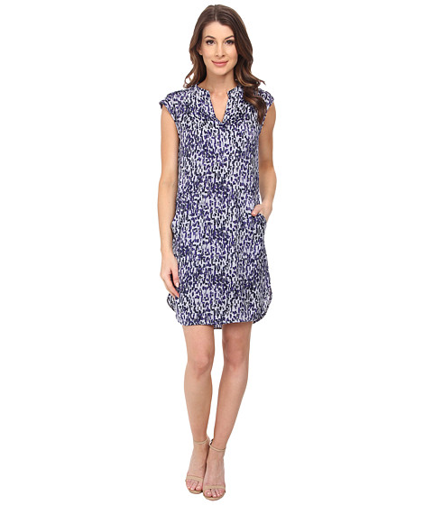 Ivy & Blu Maggy Boutique - Extended Sleeve Geo/Dot Print Split Neck (Navy Multi) Women's Clothing
