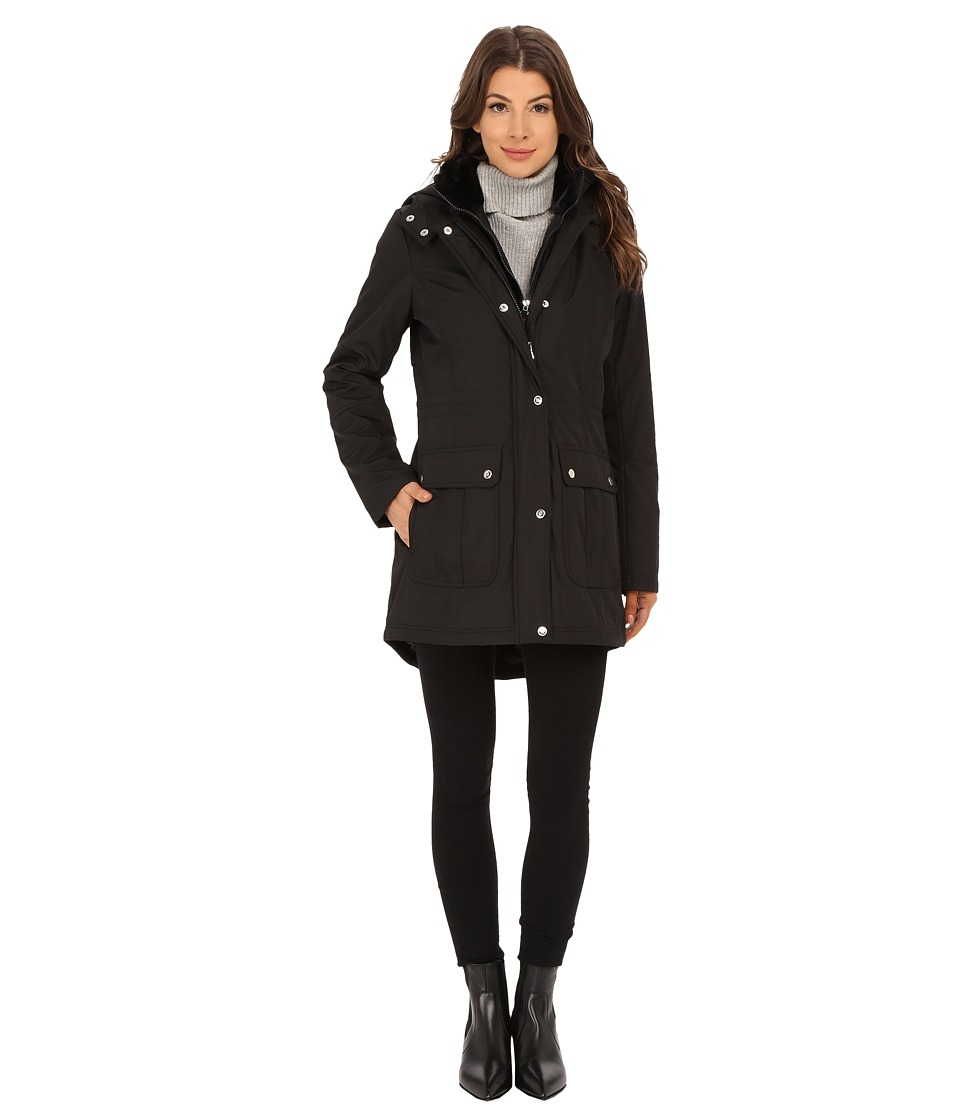 Jessica Simpson - Long Parka Puffer with Bib, Faux Fur Collar and Hood (Black) Women's Coat