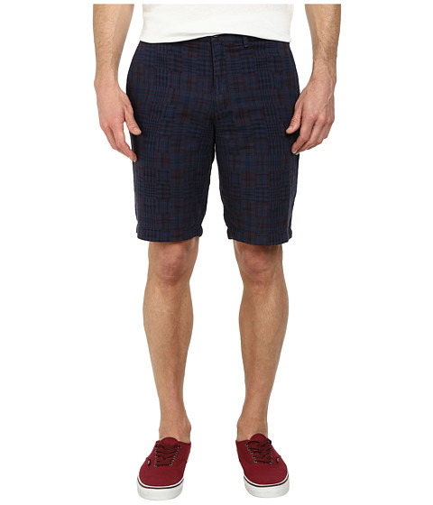 Original Penguin - Overdyed Madras Shorts (Dress Blues) Men's Shorts