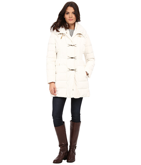 Jessica Simpson - Long Clip Toggle Down Coat with Bib and Knit Collar (Ivory) Women's Coat