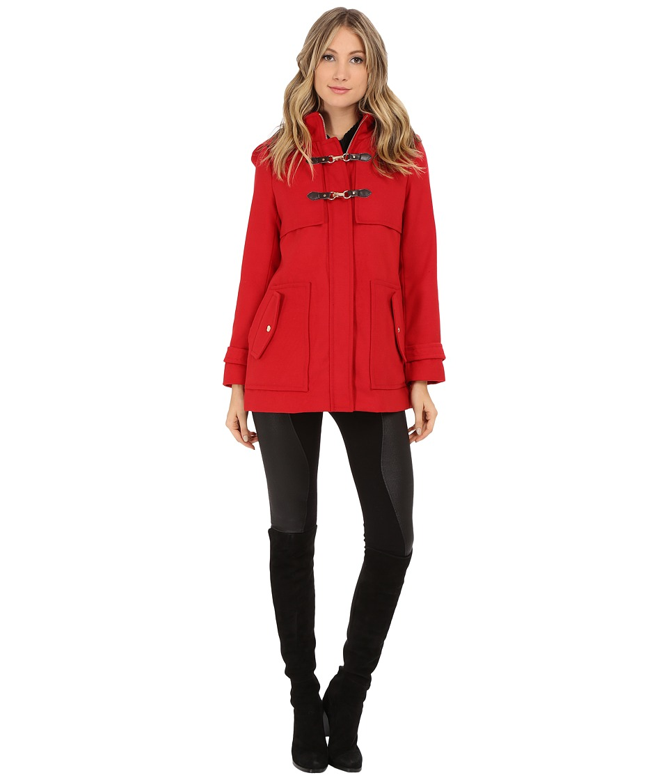 Jessica Simpson - Zip Front Toggle Coat with Hood In Melton Touch (Red) Women