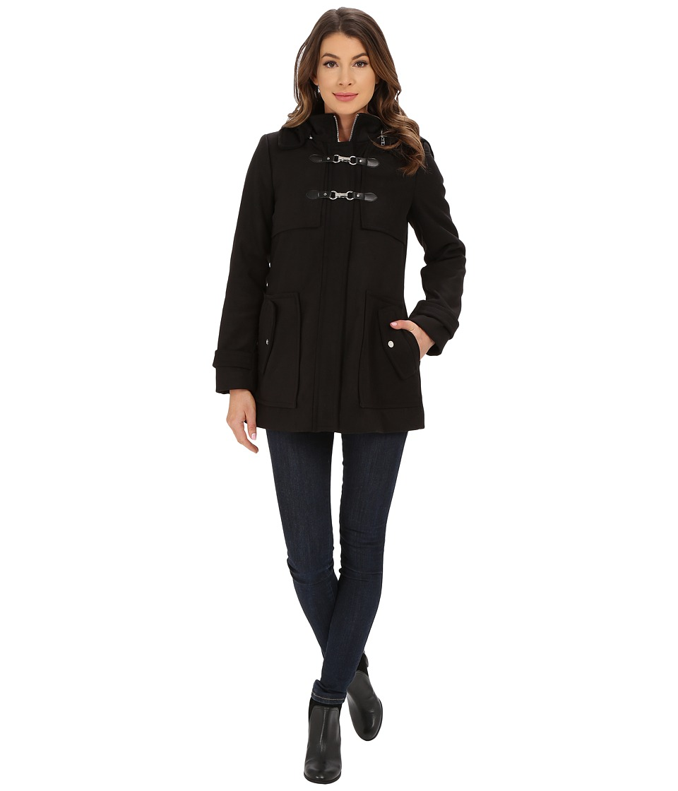 Jessica Simpson - Zip Front Toggle Coat with Hood In Melton Touch (Black) Women's Coat