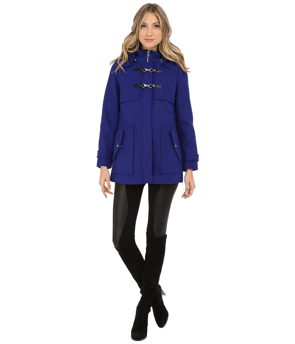 Jessica Simpson - Zip Front Toggle Coat with Hood In Melton Touch (Cobalt) Women's Coat
