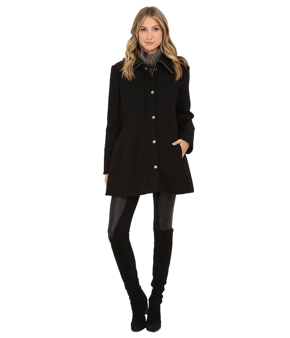 Jessica Simpson - Zip Front Braided Wool with Placket (Black) Women's Coat