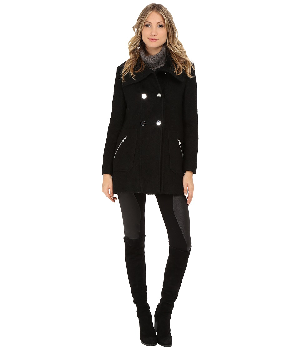 Jessica Simpson - Double Breasted Evelope Collar with Flat Button (Black) Women's Coat