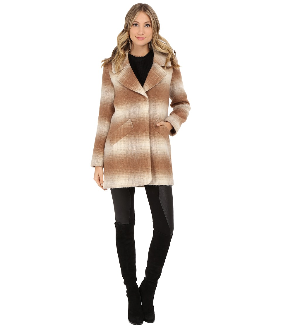 Jessica Simpson - Brushed Wool Blazer Coat (Camel/White) Women's Jacket