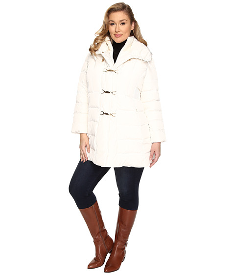 Jessica Simpson - Plus Size Down with Clip, Bib and Knit (Ivory) Women's Coat