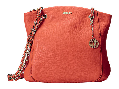 DKNY - Tribeca - Soft Tumbled North South Crossbody w/ Adjustable Chain Handle (Orange) Cross Body Handbags
