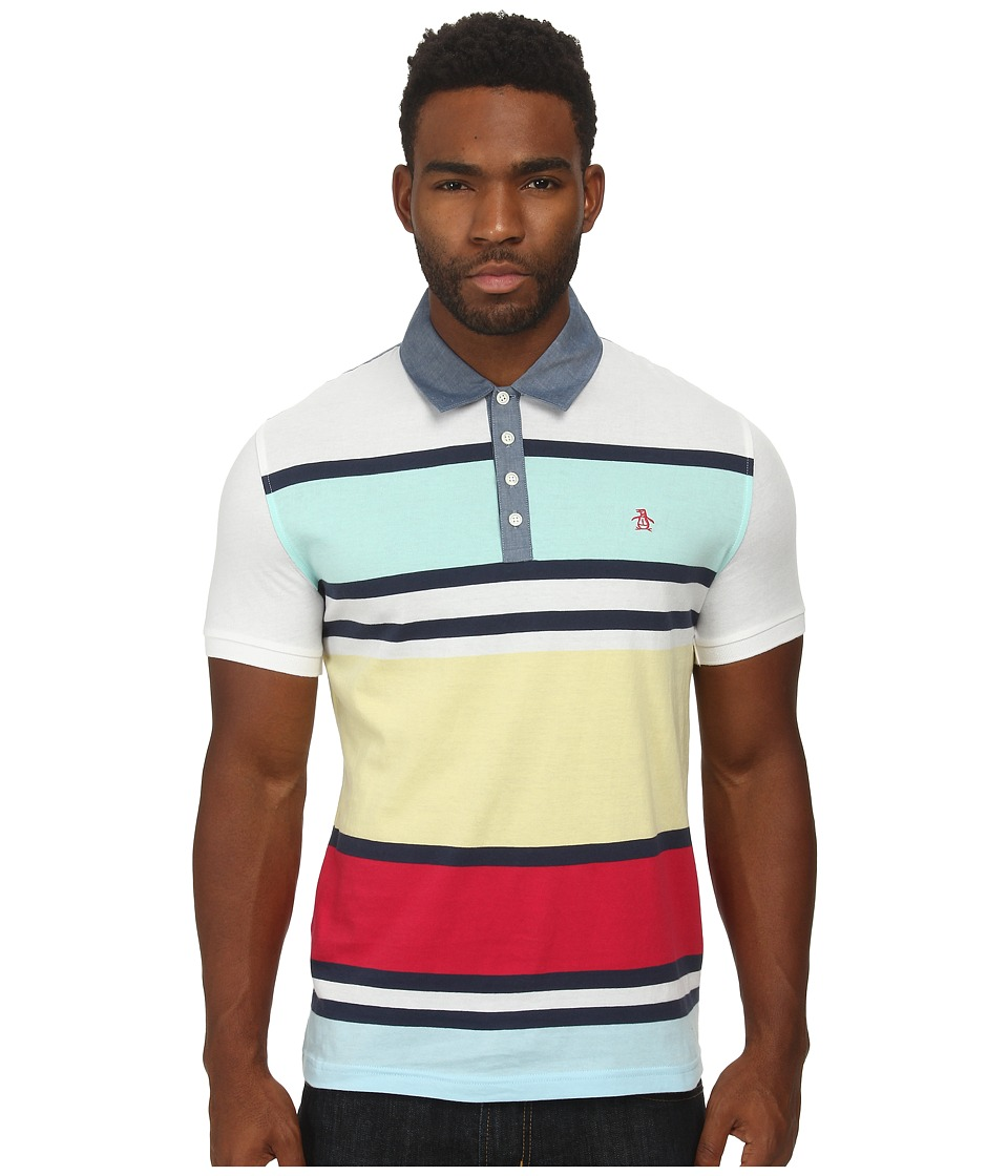 Original Penguin - Yarn Dye Rugby Stripe Heritage Polo (Bright White) Men's Clothing