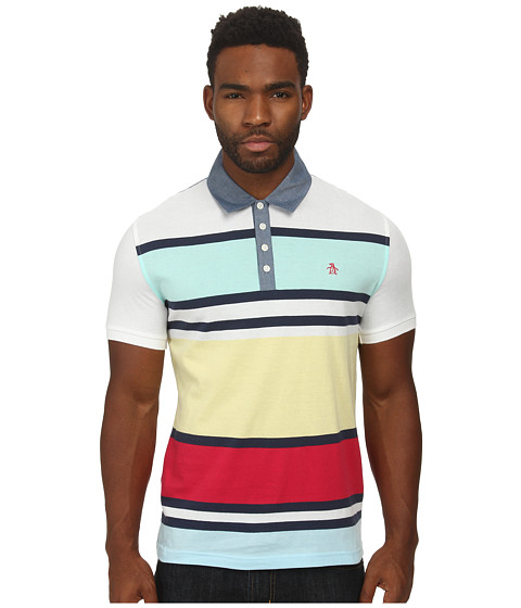 Original Penguin - Yarn Dye Rugby Stripe Heritage Polo (Bright White) Men