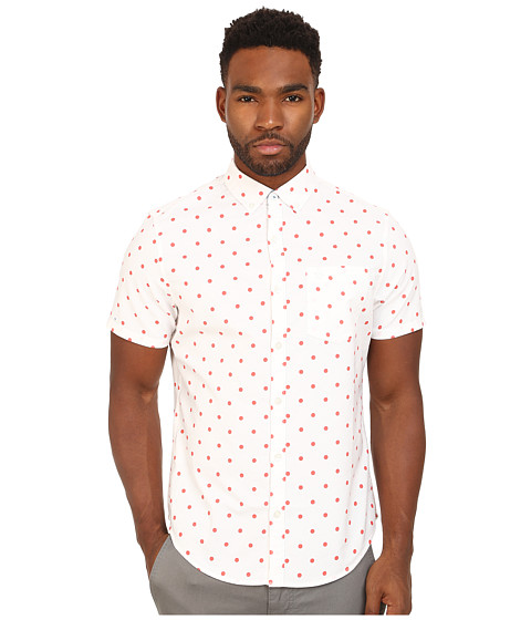 Original Penguin - Global Look Polka Dot Oxford Short Sleeve Woven Heritage Shirt (Bright White) Men