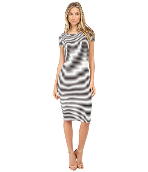 ONLY - Dorte Rib Short Sleeve Stripe Calf Dress (Cloud Dancer/Forged Iron Stripes) Women's Dress
