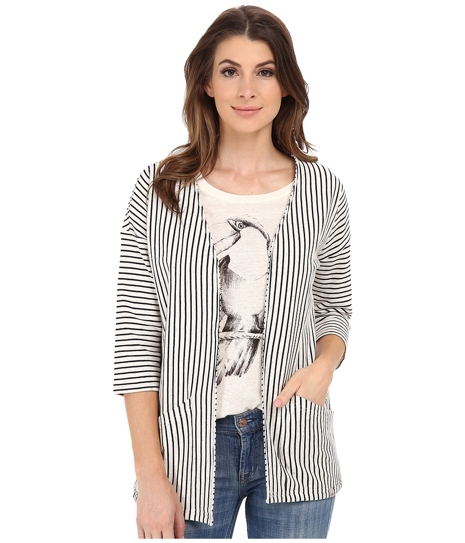 ONLY - Blogger Kimono (Cloud Dancer/Navy Stripes) Women's Clothing