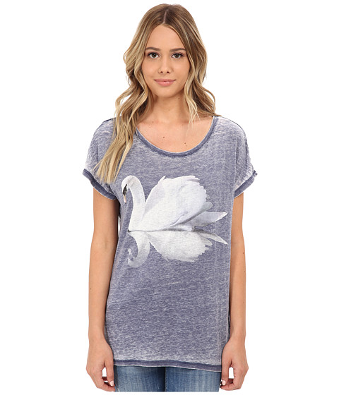 ONLY - Indie Short Sleeve Swan Top (Medieval Blue) Women's Clothing
