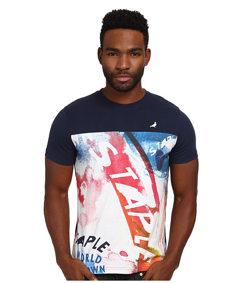 Staple - Acrylic Pieced Tee (Navy) Men's T Shirt