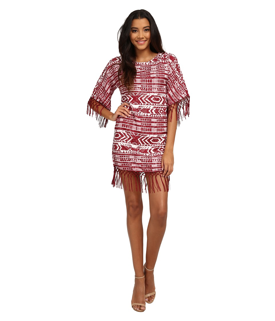 Sam Edelman Cheyenne Fringe Beaded Poncho Dress (Port) Women