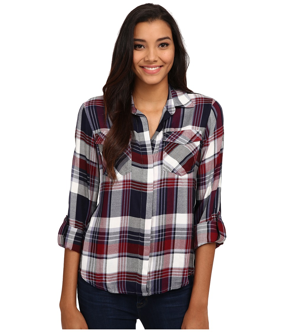 Sam Edelman - Riley Plaid Split Back Blouse with Zipper Detail (Multi) Women's Blouse