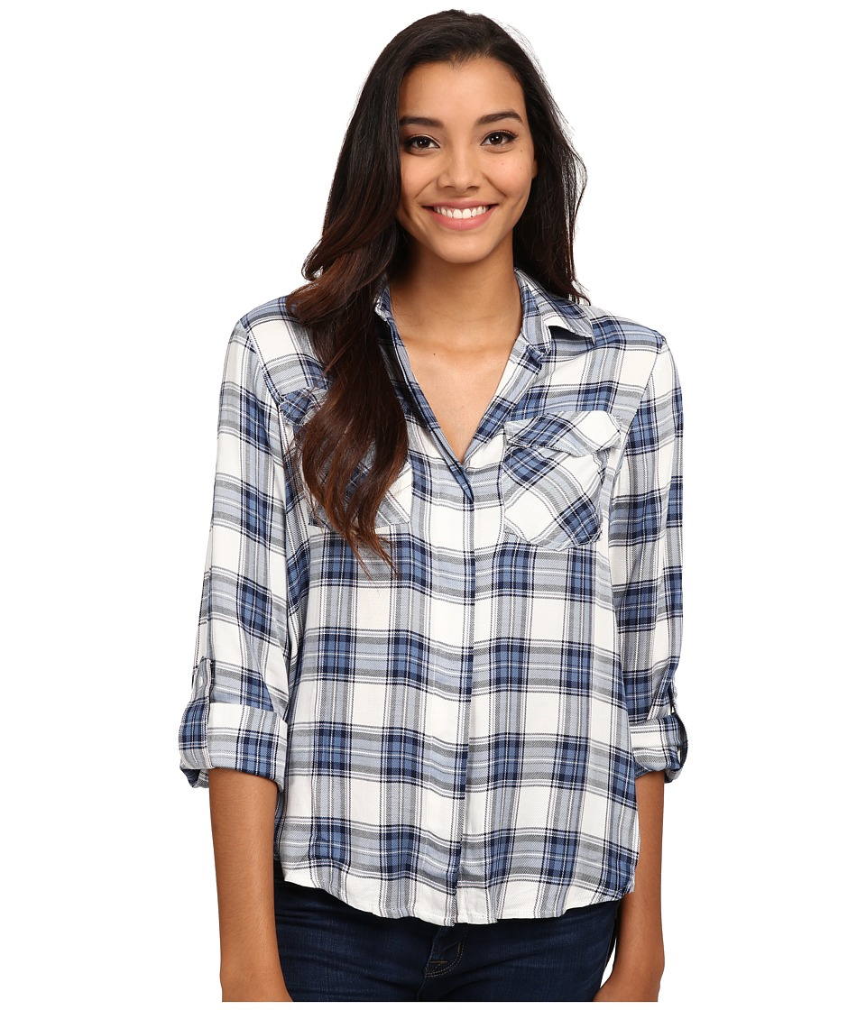 Sam Edelman - Riley Plaid Split Back Blouse with Zipper Detail (Indigo) Women's Blouse
