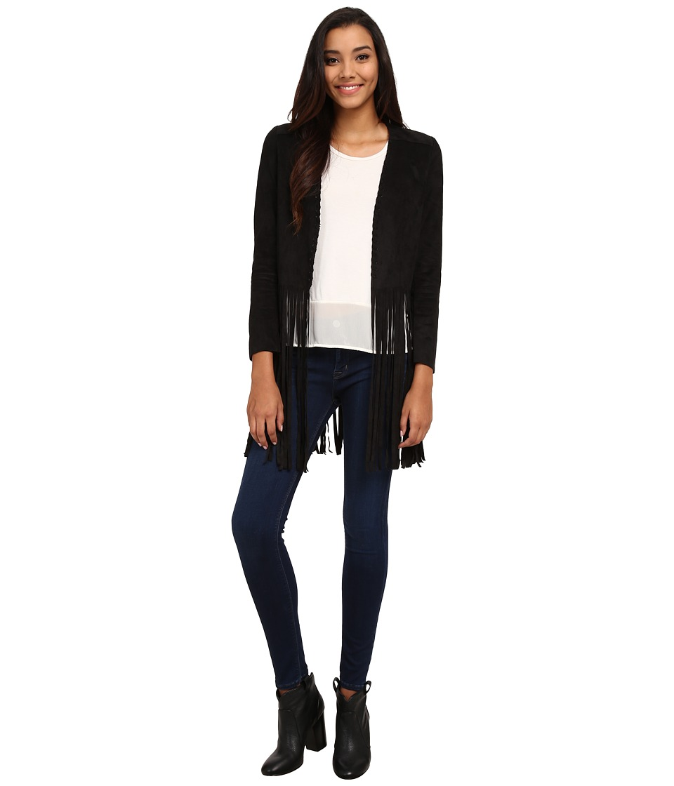 Sam Edelman - Frankie Faux Suede Fringe Jacket (Black) Women's Coat