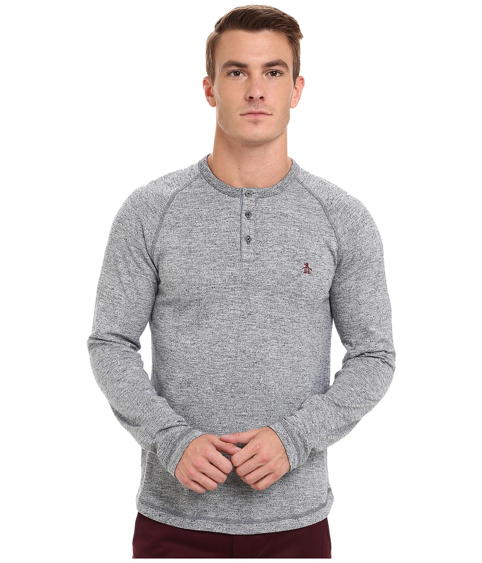 Original Penguin - Flecked CVC Slub Henley (Dark Sapphire) Men's Clothing