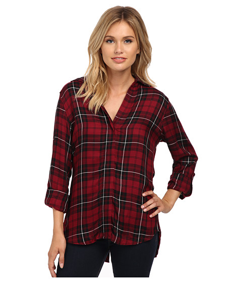 Sam Edelman - Cosette Red Black Plaid Split Back Blouse with Zipper (Boysenberry) Women