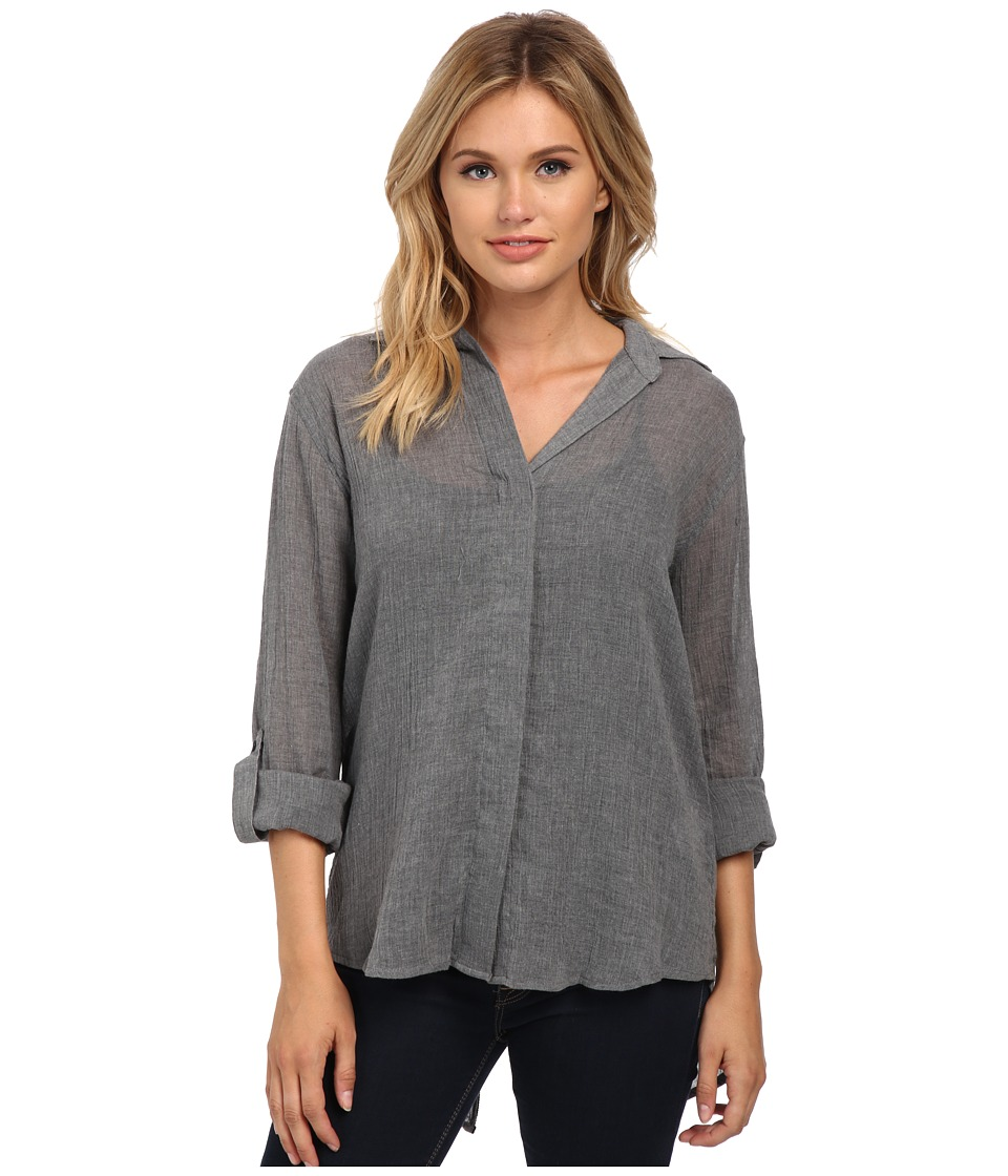 Sam Edelman - Kylie Shirt with Slit Zip Back Detail (Heather Gray) Women's Clothing