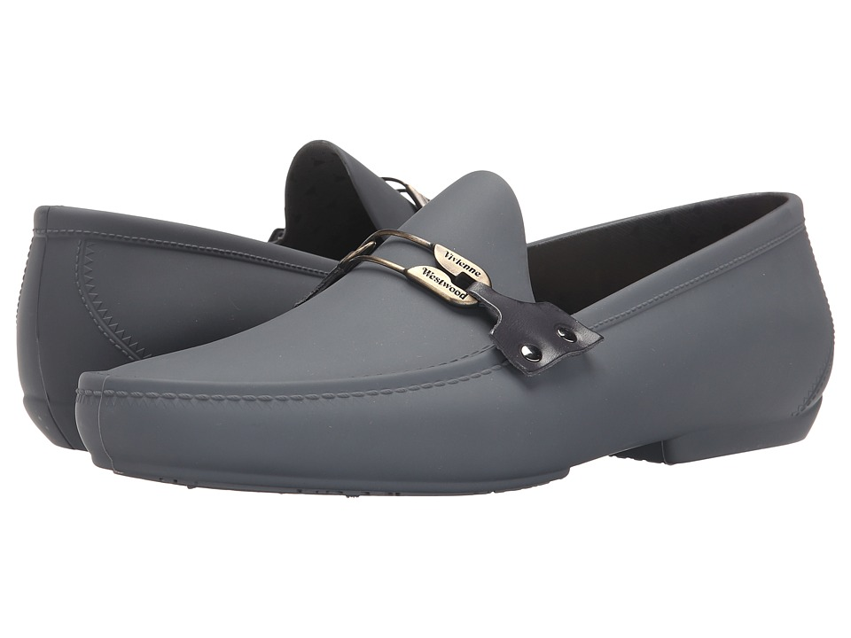 Vivienne Westwood - Safety Pin Moccasin (Graphite Grey) Men's Slip on Shoes