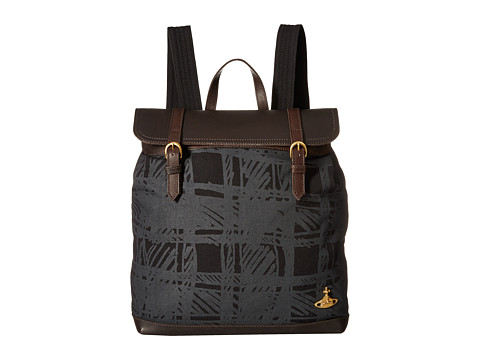 Vivienne Westwood - Africa Scribble Tartan Steamer Bag (Black) Backpack Bags