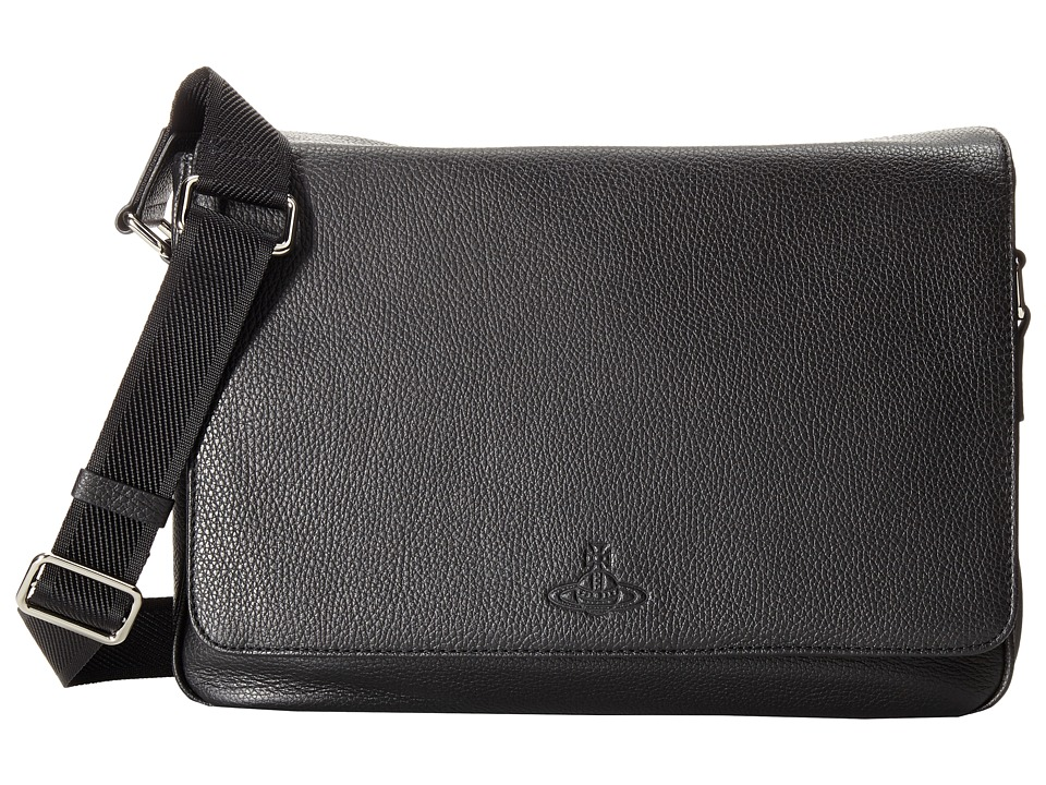 Vivienne Westwood - Leather Positano Bag (Black) Messenger Bags