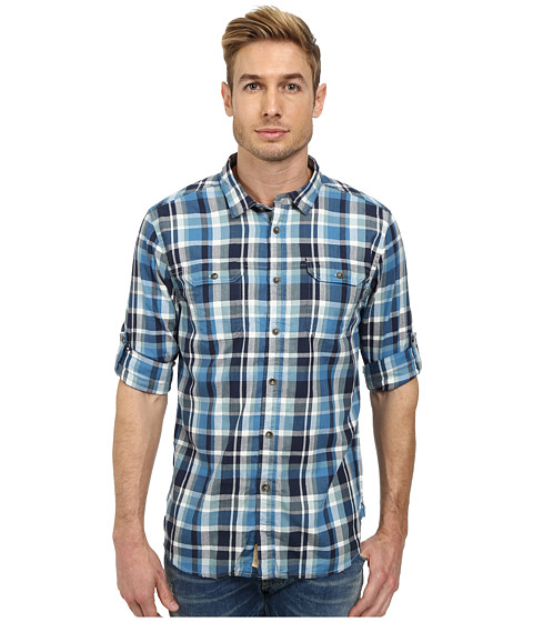J.A.C.H.S. - Double Mittered Pocket Roll Back Shirt (Blue) Men's Clothing