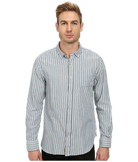 J.A.C.H.S. - Classic Two Tone Striped Shirt (Blue) Men's Clothing