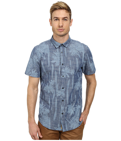 J.A.C.H.S. - Printed Chambray Short Sleeve Shirt (Indigo) Men's Clothing