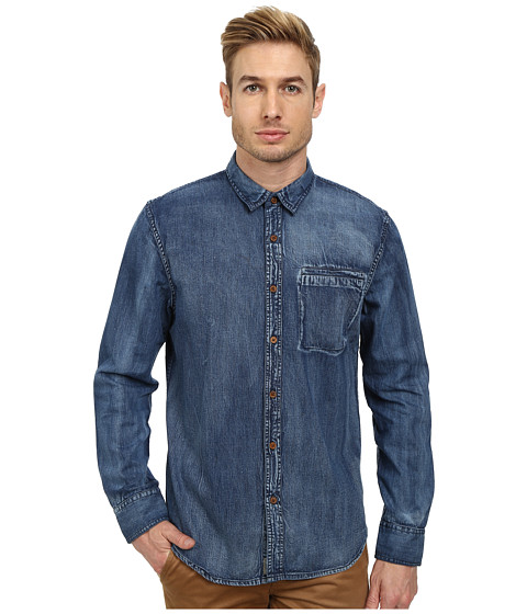 J.A.C.H.S. - Dark Wash Denim Shirt (Indigo) Men's Clothing