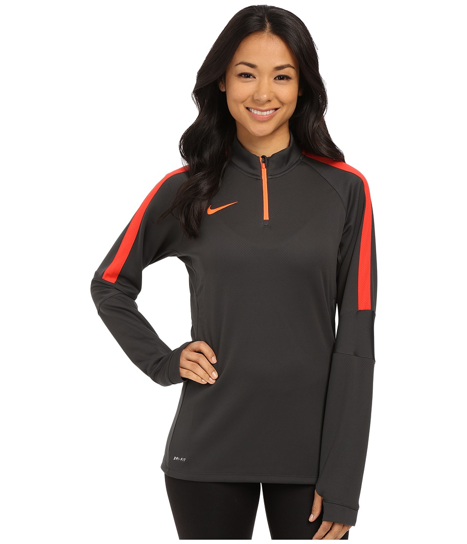 Nike - Squad Long Sleeve Midlayer - Parent (Anthracite/Hyper Orange/Hyper Orange) Women