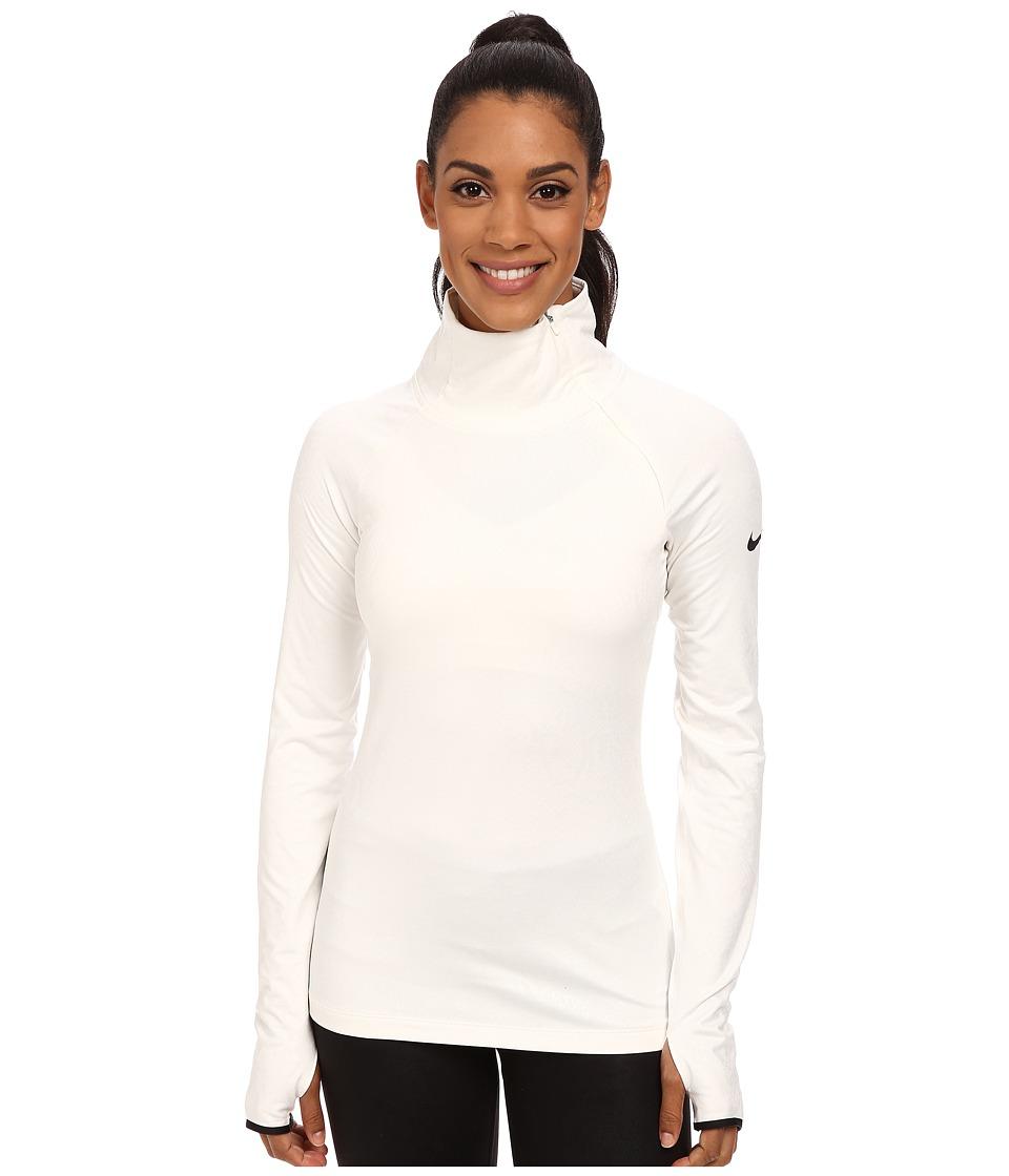 Nike - Pro Warm Embossed Hyperwarm Vixen Raglan (Ivory/Black) Women
