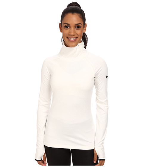 Nike - Pro Warm Embossed Hyperwarm Vixen Raglan (Ivory/Black) Women's Long Sleeve Pullover