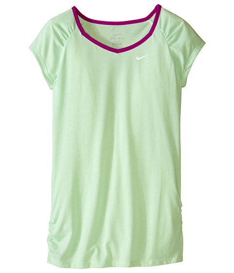 Nike Kids - YA Dri-FIT Cool S/S Top (Little Kids/Big Kids) (Light Poison Green/Vivid Purple/White) Girl