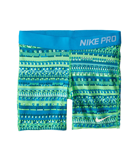 Nike Kids - Pro 3 AOP Shorts (Little Kids/Big Kids) (Electro Green/Blue Lagoon/White) Girl