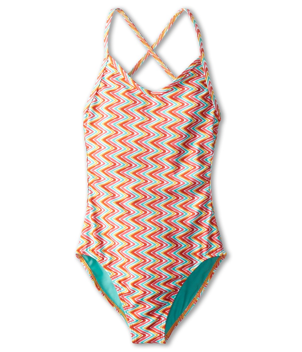 Roxy Kids - Catching Waves One-Piece Suit (Big Kids) (Fiery Orange) Girl's Swimsuits One Piece