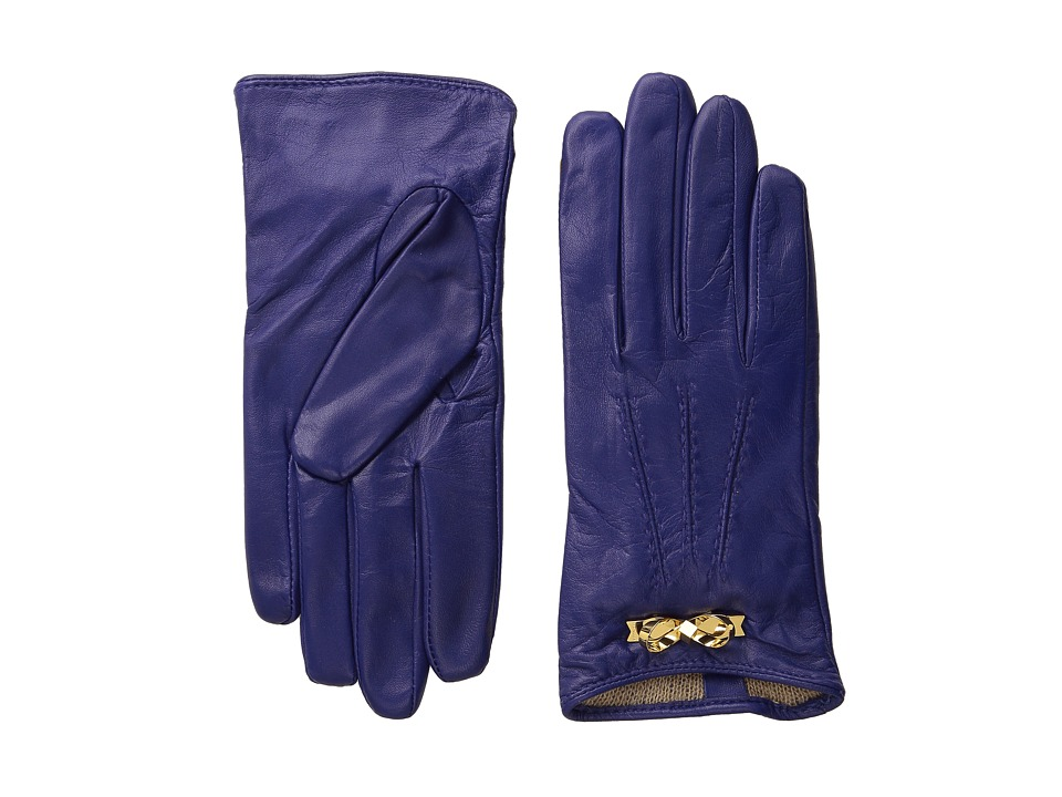 Ted Baker - Bowra Metal Bow Leather Gloves (Blue) Extreme Cold Weather Gloves