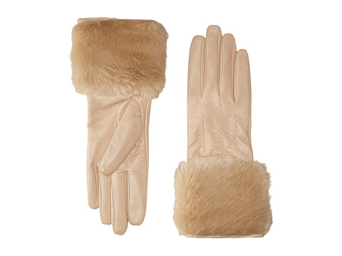 Ted Baker - Jania Fur Lined Leather Gloves (Beige) Extreme Cold Weather Gloves