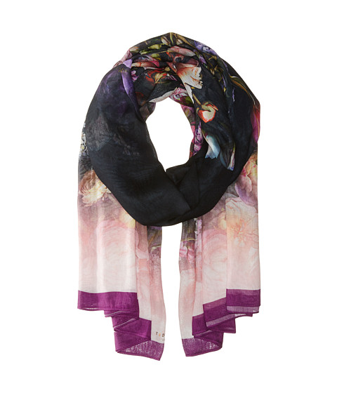 Ted Baker - Siena Shadow Floral Wide Scarves (Mid Grey) Scarves