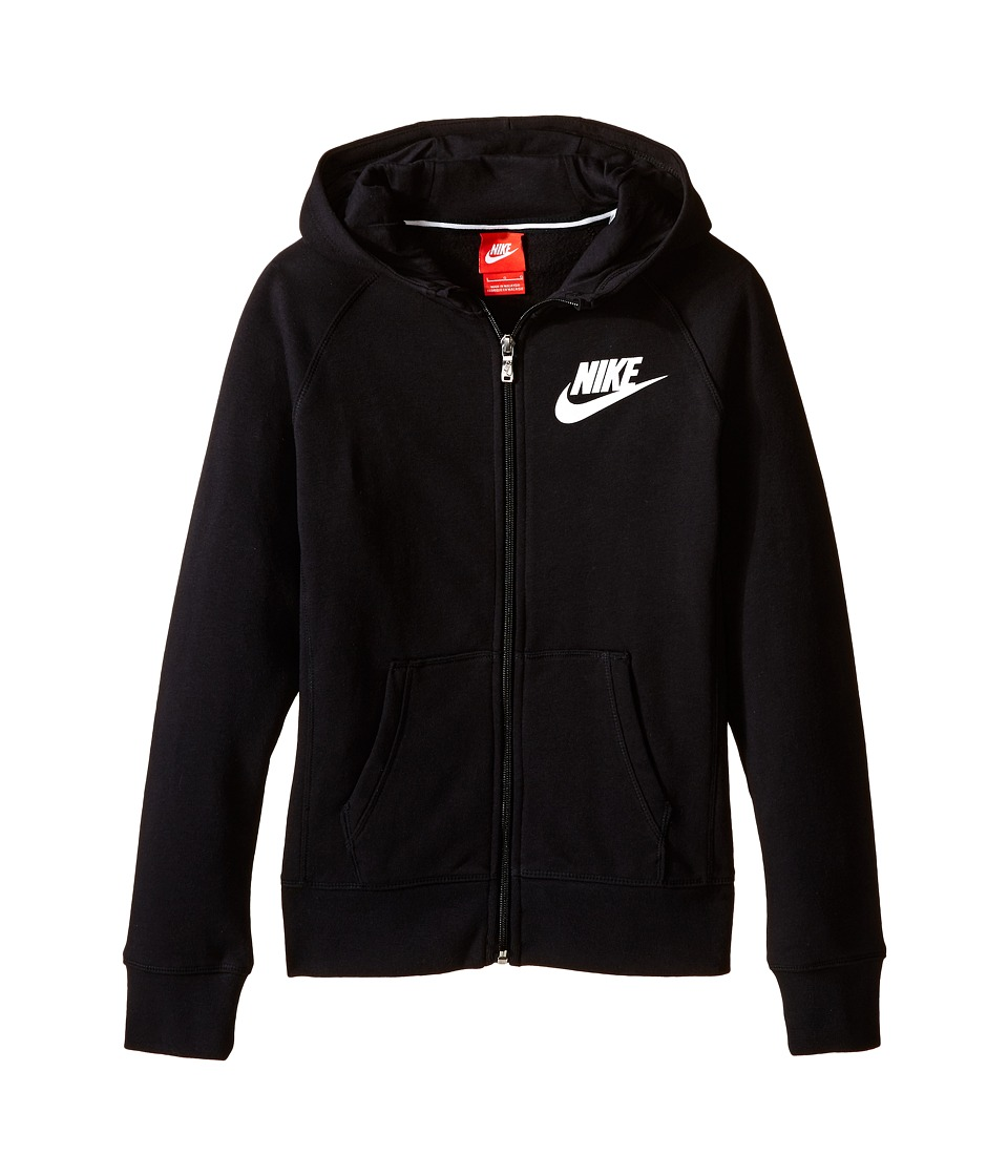 Nike Kids - YA76 Franchise Brushed-Fleece Full-Zip Hoodie (Little Kids/Big Kids) (Black/White) Girl's Sweatshirt