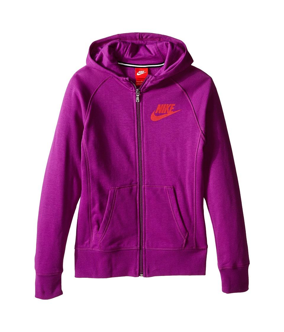 Nike Kids - YA76 Franchise Brushed-Fleece Full-Zip Hoodie (Little Kids/Big Kids) (Purple Dusk/Light Crimson) Girl's Sweatshirt