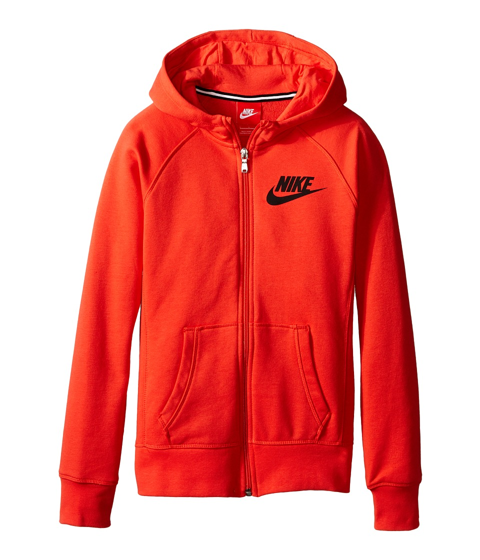 Nike Kids - YA76 Franchise Brushed-Fleece Full-Zip Hoodie (Little Kids/Big Kids) (Light Crimson/Black) Girl's Sweatshirt